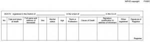 Death Certificate Details Form